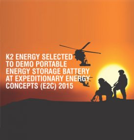 K2 Energy Solutions Selected as a Demonstrator at the Marine Corps' E2C Energy and Technology Conference 2015