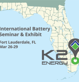 K2 Energy Solutions, Inc. Begins Final Preparations for Exhibition at International Battery Seminar & Exhibit, Mar 26-29