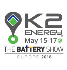 K2 Energy Solutions, Inc. Charges up Internationally with Exhibition at The Battery Show in Hannover Germany May 15-17