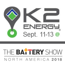 K2 Energy Solutions will exhibit at the The Battery Show in Novi, MI